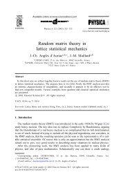 Random matrix theory in lattice statistical mechanics - CNRS