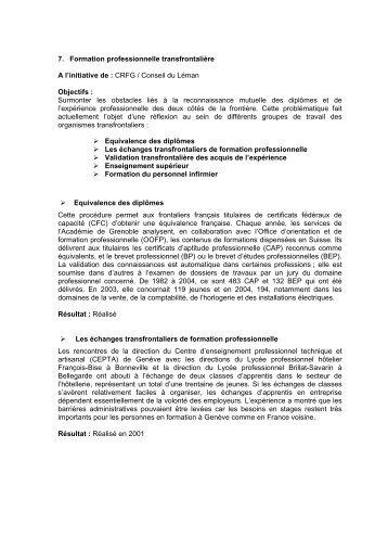 7. Formation professionnelle transfrontalière A l'initiative de : CRFG ...