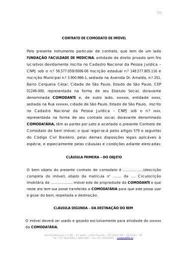 Contrato de Comodato de Imóvel - FFM - Fundação Faculdade de ...