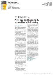 New egg and baby study scrambles old thinking - Murdoch ...