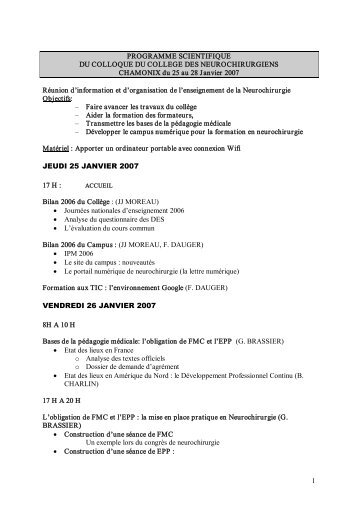 1 PROGRAMME SCIENTIFIQUE DU COLLOQUE DU COLLEGE ...