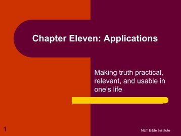 Chapter Eleven: Applications - Biblical Studies Foundation