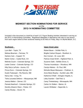 Midwestern Nominating Committee Nominations - US Figure Skating