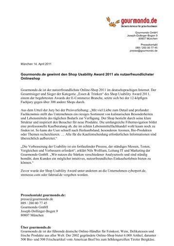 Gourmondo.de gewinnt den Shop Usability Award 2011 als ...