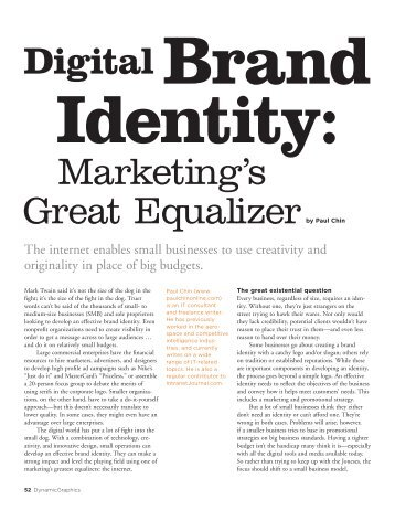 Marketing's Great Equalizer Digital Brand - paulchinonline.com