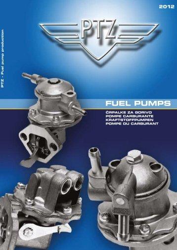 Mechanical fuel pump catalogue for cars 2012 - PTZ