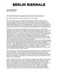 Pressemitteilung 2 Die 7. Berlin Biennale gibt ihre Laufzeit bekannt