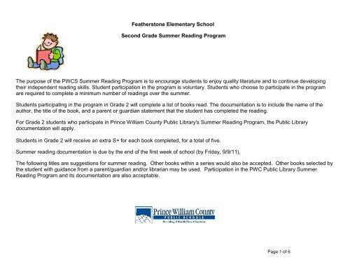Kindergarten Summer Reading Program - Featherstone Elementary ...