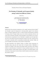 The Meaning of Nationality and European Identity Among Youths