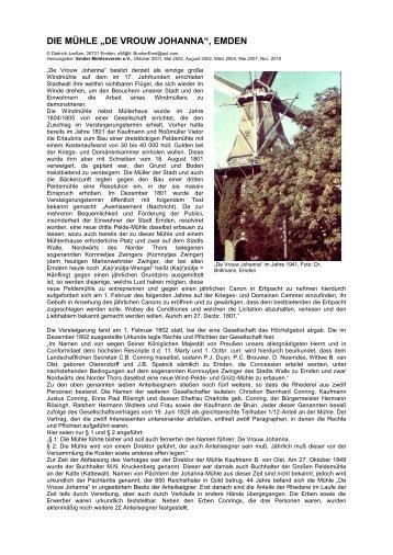 """DIE MÜHLE """"DE VROUW JOHANNA"""", EMDEN - Emder Mühlenverein"""