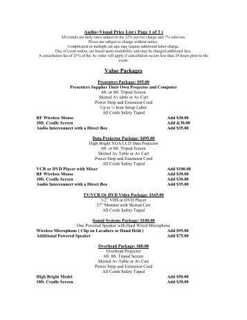 Audio/Visual Services (PDF) - Embassy Suites
