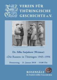 Dr. Silke Satjukow - Verein für Thüringische Geschichte e.V.