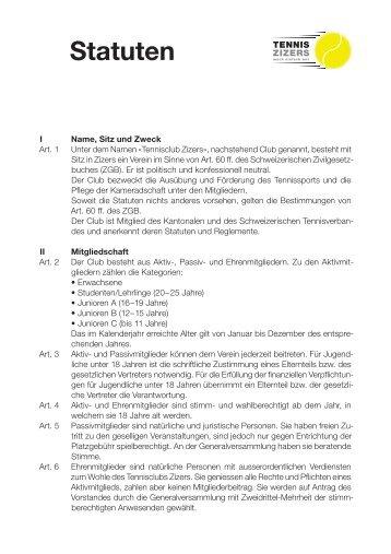 Statuten - Tennisclub Zizers