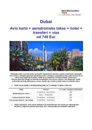 Avio karta + aerodromske takse + hotel + ... - Glob Metropoliten