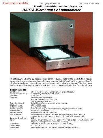 HARTA MicroLumi L2 Luminometer Daintree Scientific