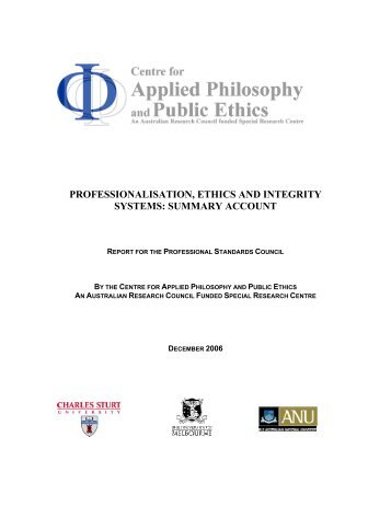 section 1 - CAPPE. Centre For Applied Philosophy and Public Ethics.