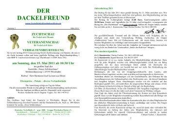 Der Dackelfreund - Nr. 2/2011 - Teckelklub Wiesbaden/ Mainz
