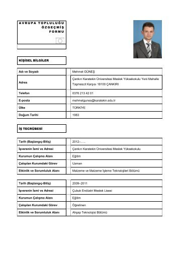Uzman Mehmet Güneş - Meslek Yüksekokulu - Çankırı Karatekin ...