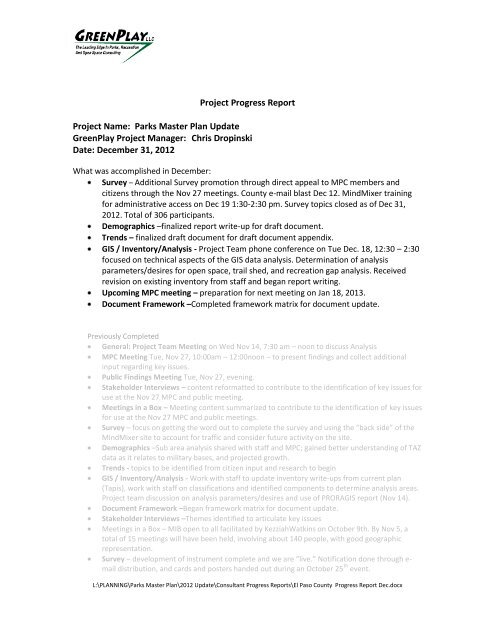 Progress Report - El Paso County