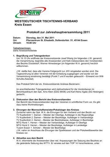 Protokoll zur Jahreshauptversammlung 2011 ... - Siegelonline.de