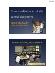 From small farms to middle school classrooms - Earth & Planetary ...