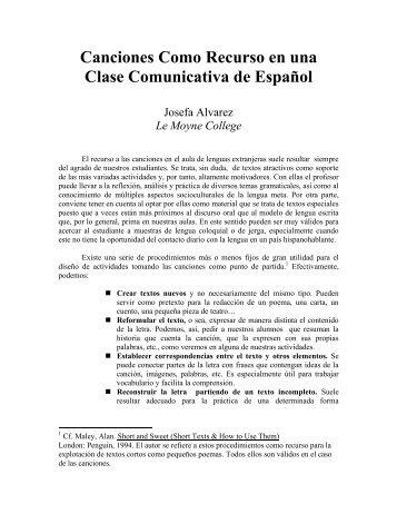 Canciones Como Recurso en una Clase Comunicativa de Español