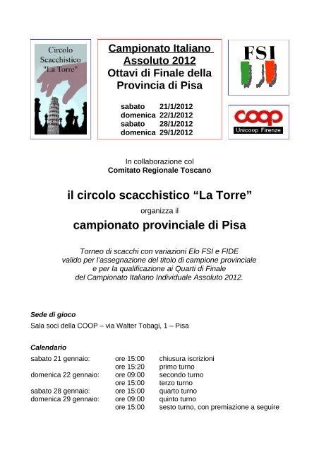 Fsi Scacchi Calendario.Campionato Provinciale Di Pisa Vesus