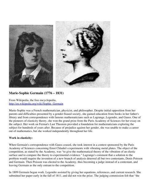 Marie-Sophie Germain (1776 – 1831) - Shellbuckling com