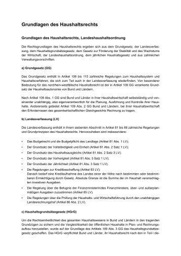 Grundlagen des Haushaltsrechts - Finanzministerium NRW