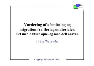 Vurdering af afsmitning og Vurdering af afsmitning og migration fra ...