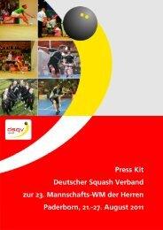 Press Kit Deutscher Squash Verband zur 23. Mannschafts ... - DSQV