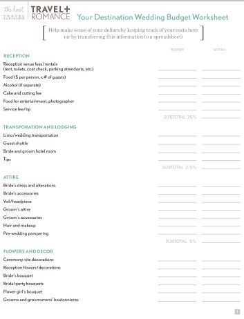 Worksheet Real Simple Budget Worksheet your wedding budget works destination worksheet the knot