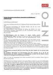 An alle Mitarbeiterinnen und Mitarbeiter des ORF Wien, 12. April ...