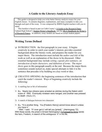Define analytical essay