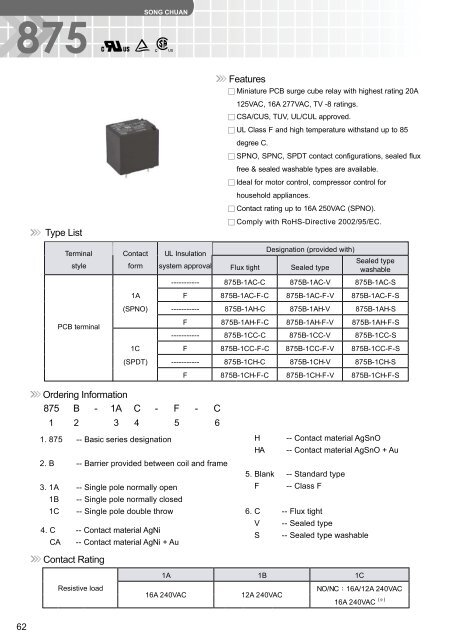 Ordering Information Type List Features 875 B - 1A C - F - C Contact ...