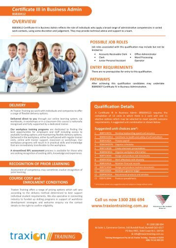 Certificate III in Business Administration - Traxion Training