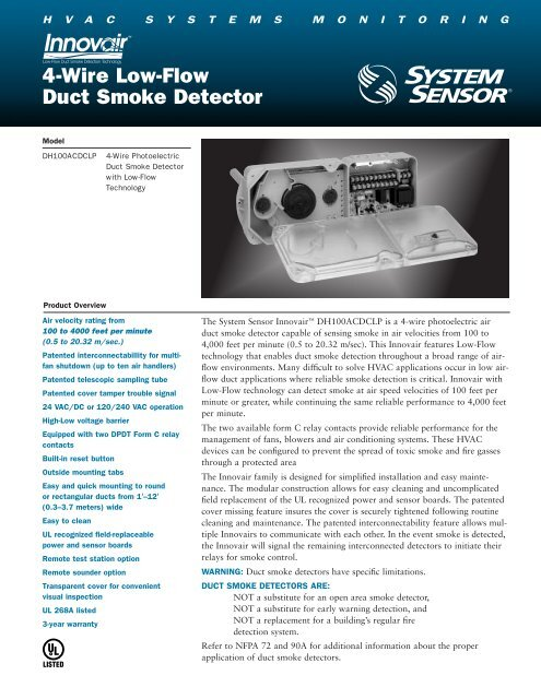 4-Wire Low-Flow Duct Smoke Detector - Nordyne