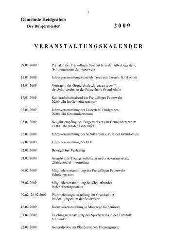 Veranstaltungskalender 2009 - Heidgrabener Sportverein von 1949 ...