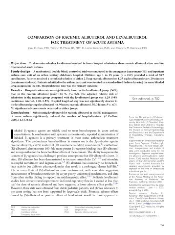 comparison of racemic albuterol and levalbuterol for treatment of ...