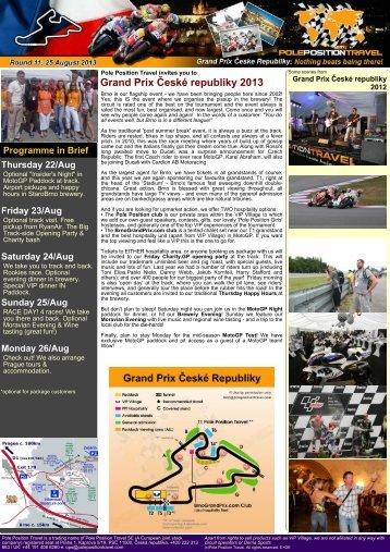 Grand Prix České republiky 2013 - Pole Position Travel