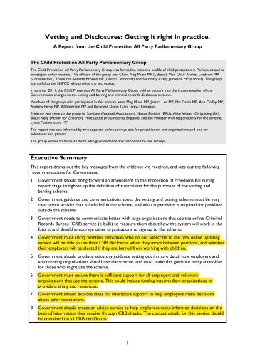 Vetting and disclosures - Fair Play For Children
