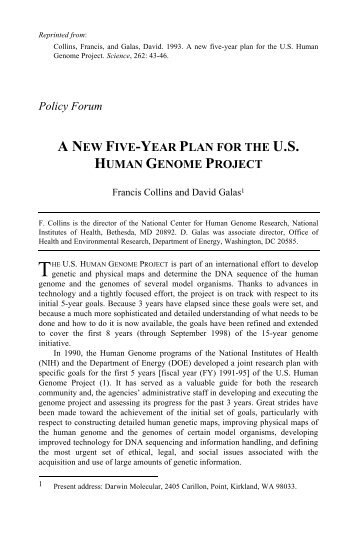 a new five-year plan for the us human genome project