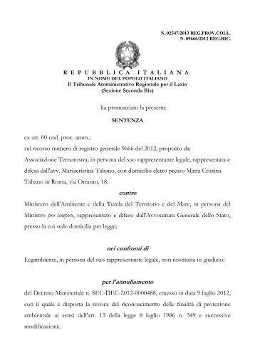 Sentenza TAR Lazio n. 02547/2013 (Terranostra) - Ambiente e ...