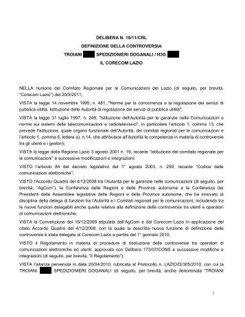 DELIBERA N. 19/11/CRL DEFINIZIONE DELLA ... - Corecom Lazio