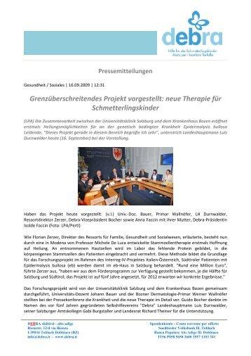 neue Therapie für Schmetterlingskinder - DEBRA Südtirol