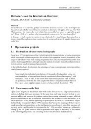Dictionaries on the Internet: an Overview 1 Open-source ... - Euralex
