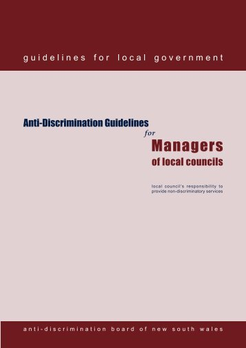 Anti Discrimination Guidelines for Managers of Local Councils