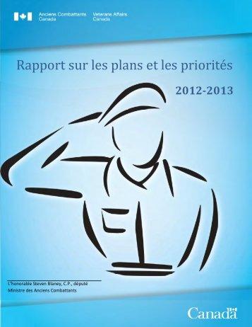 Rapport sur les plans et les priorités