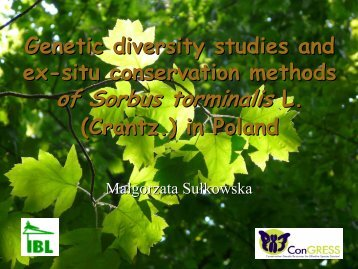 Genetic diversity studies and ex-situ conservation methods of ...