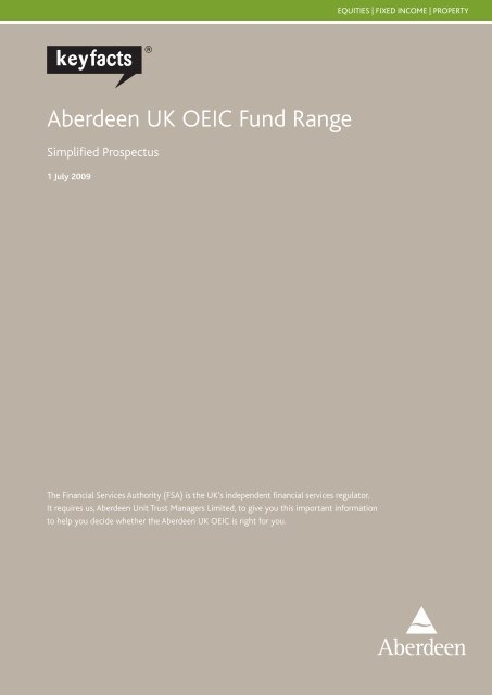 Aberdeen UK OEIC Fund Range - Aberdeen Asset Management